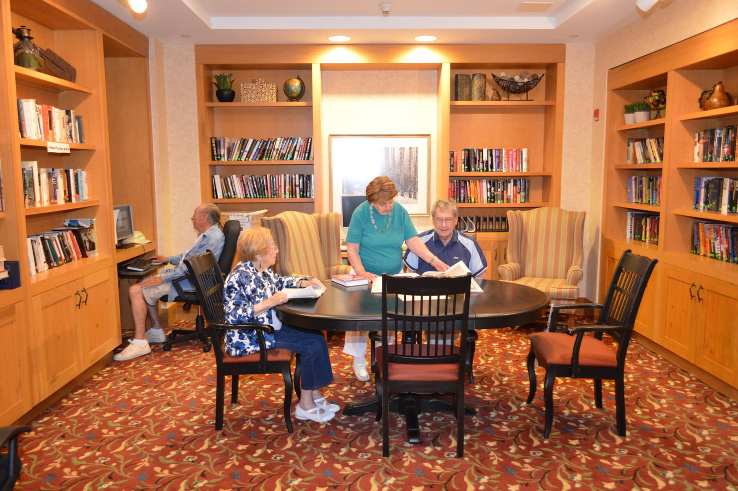 Wiggins library at Menorah Park Senior Assisted Living Residence Beachwood Ohio